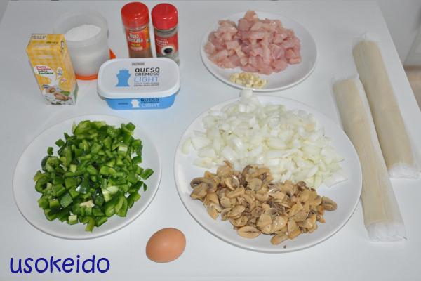 Receta hojaldre relleno pollo, cebolla, queso y champiñones - www.usokeido.com