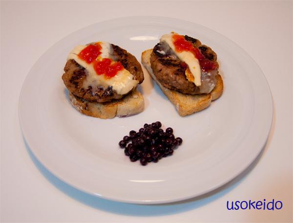 Hamburguesa con queso de cabra y mermelada de tomate - www.usokeido.com