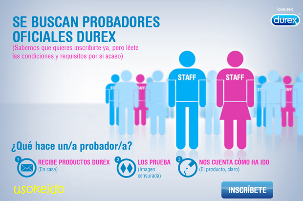 Durex busca 50 probadores oficiales para sus productos sexuales - www.usokeido.com