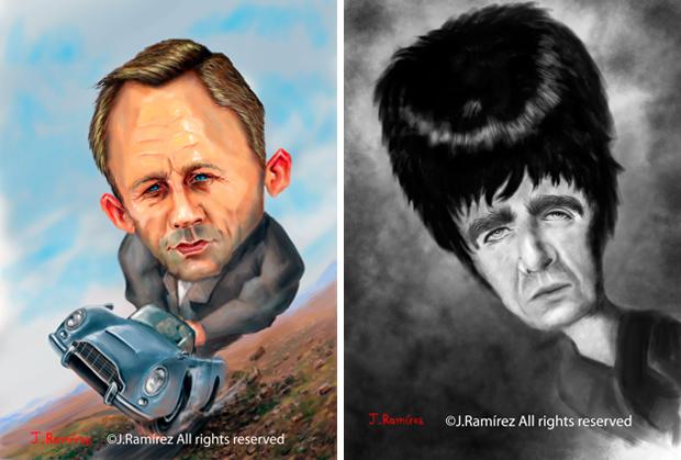 Caricaturas Daniel Craig y Liam Gallagher - J. Ramírez