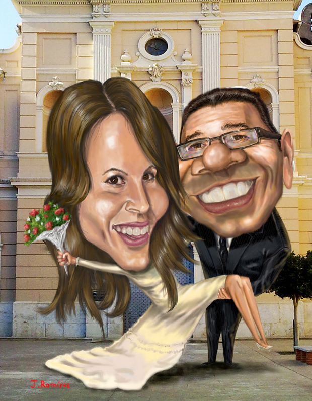 Caricatura boda Usokeido y 2eloa - J. Ramírez